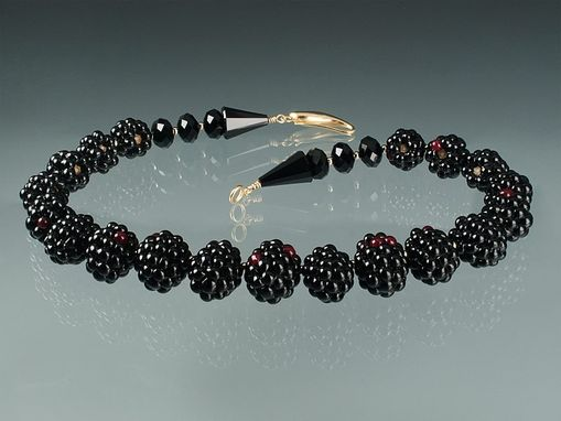 Custom Made Realistic Glass Blackberry Choker With 18k Yellow Gold Clasp And Findings