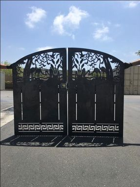 Custom Made Greek Inspired Gate Dual Entry Steel Garden Walk Thru Pedestrian Gate