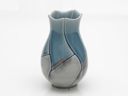 Custom Made Blue And Grey Bud Vase Lotus Design With Red Flecks