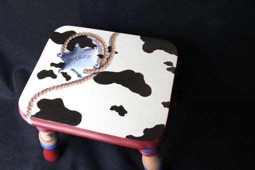 Custom Made Hand Painted Western Themed Child's Footstool