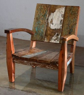 Custom Made Reclaimed Teak Adirondack Style Chair Made From Bali Boat Wood