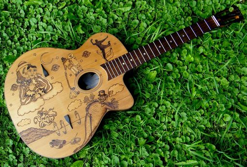 Custom Made Customized Guitar Pyrography