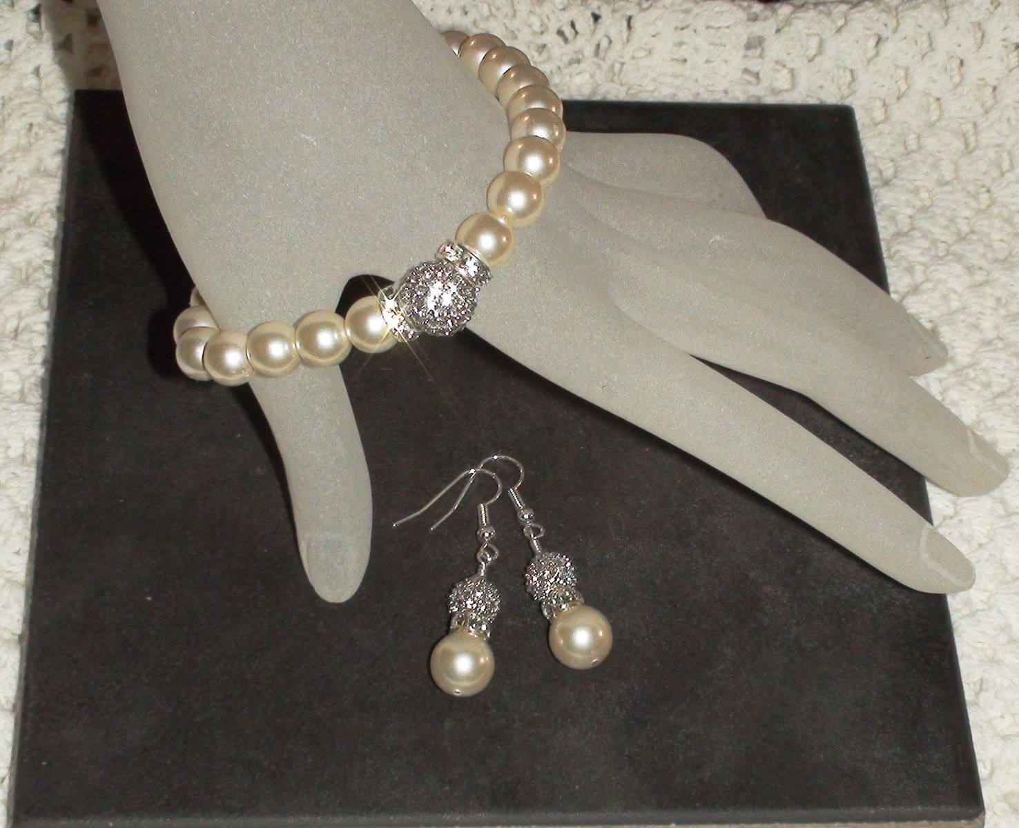 Custom Made Pearl Crystal Bracelet Earring Set Wedding Bridal Bridesmaids