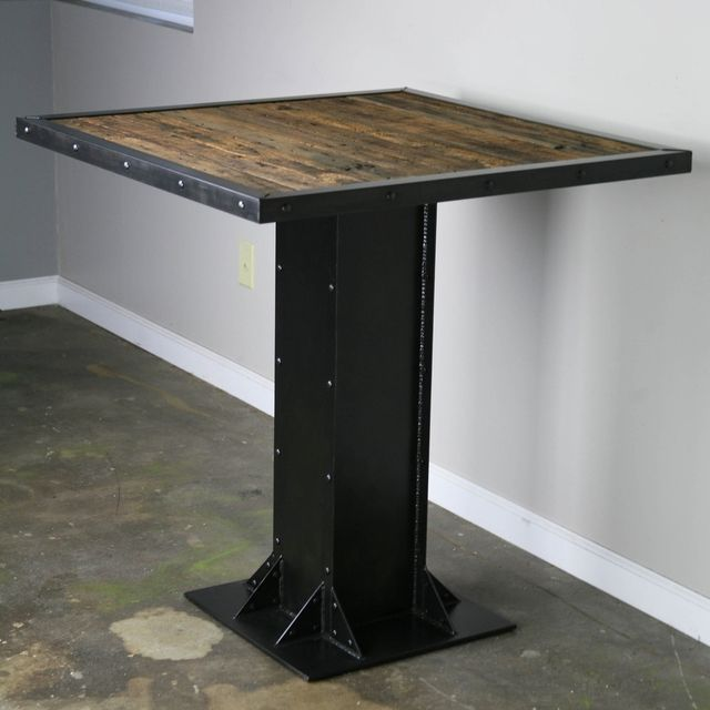 Buy a hand made bistrodining table modern industrial design steel buy a hand made bistrodining table modern industrial design steel reclaimed wood great for restaurant or bar made to order from combine 9 watchthetrailerfo