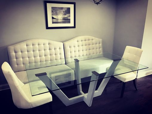Custom Made Steel And Glass Dining Table
