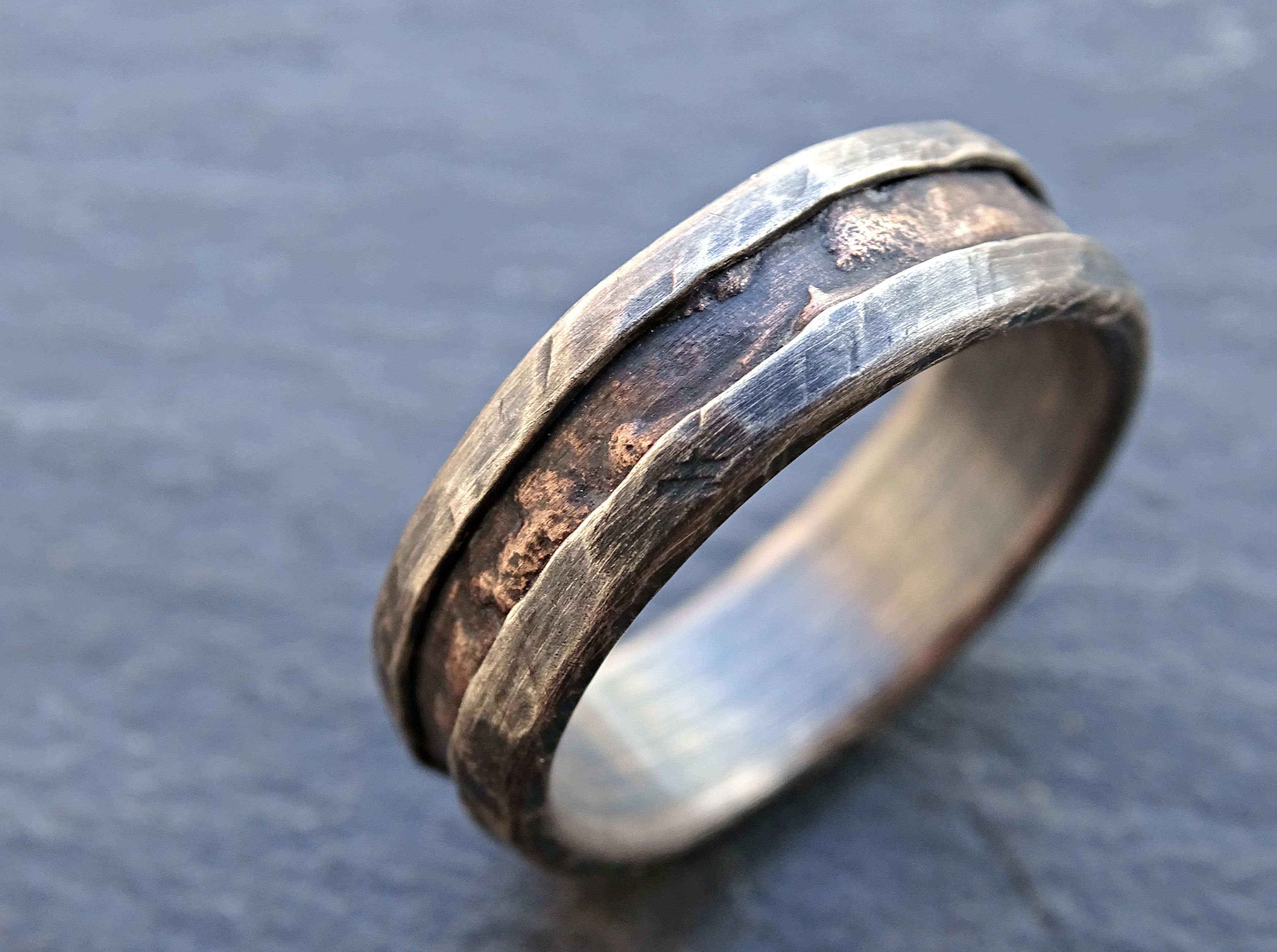 buy a hand made cool mens ring, alternative wedding band rugged