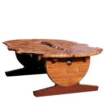 Custom Made Elm Burl Top With Wenge & Afromosia Base Coffee Table