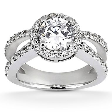 Custom Made Ladies 14 Kt White Gold Halo Diamond Engagement Ring