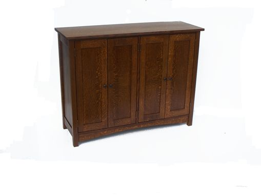 Custom Made Arts And Craft Quartered Oak Credenza
