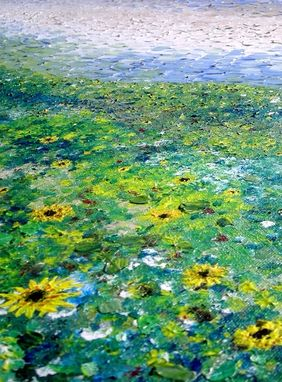 Custom Made Original Large Abstract Yellow Impressionist-Sunflower Landscape Art Textured Palette Knife - 40x30