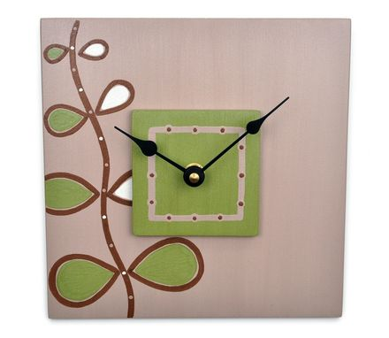 Custom Made Square Wall Clock - Olive Green, Taupe Art Clock With Rising Song Design - 7.5 Inches
