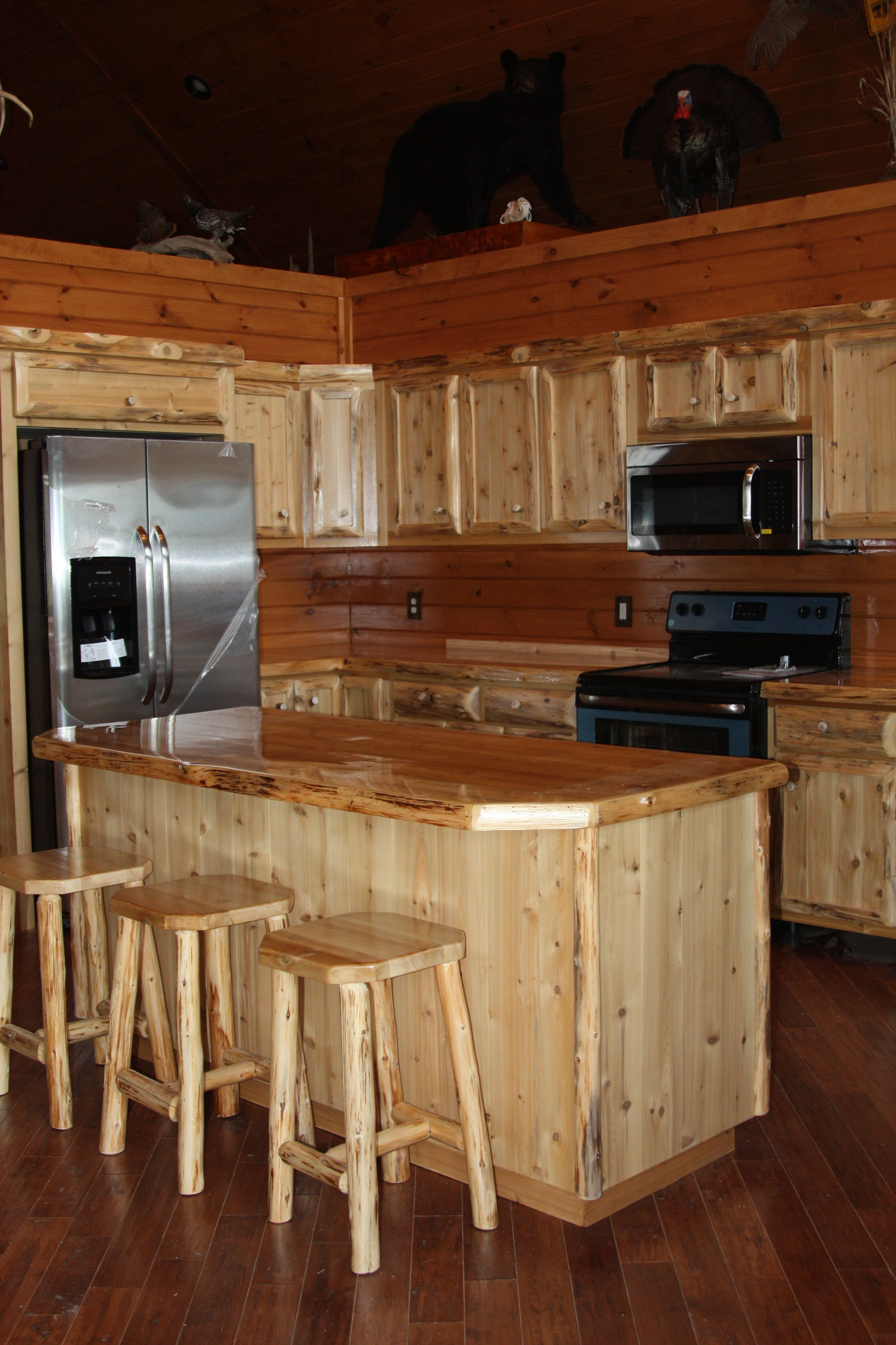 Hand Crafted Custom Rustic Cedar Kitchen Cabinets Live Edge By King Of The Forest Furniture Custommade Com