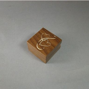Custom Made Engagement Ring Box With Inlaid Double Hearts. Free Shipping And Engraving. Rb19