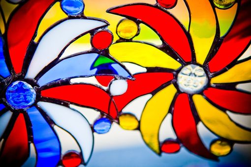 Custom Made Moon Face And Sun Rays Stained Glass Art