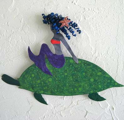 Custom Made Handmade Upcycled Metal Mermaid On Sea Turtle Wall Art Sculpture