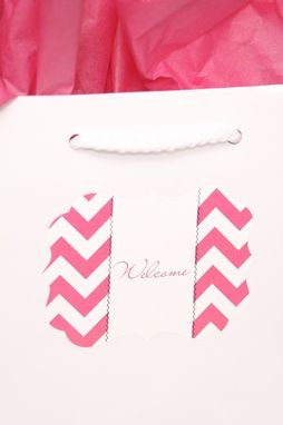 Custom Made Custom Wedding Stickers Die Cut - Chevron Ornate - Guest Bag Labels