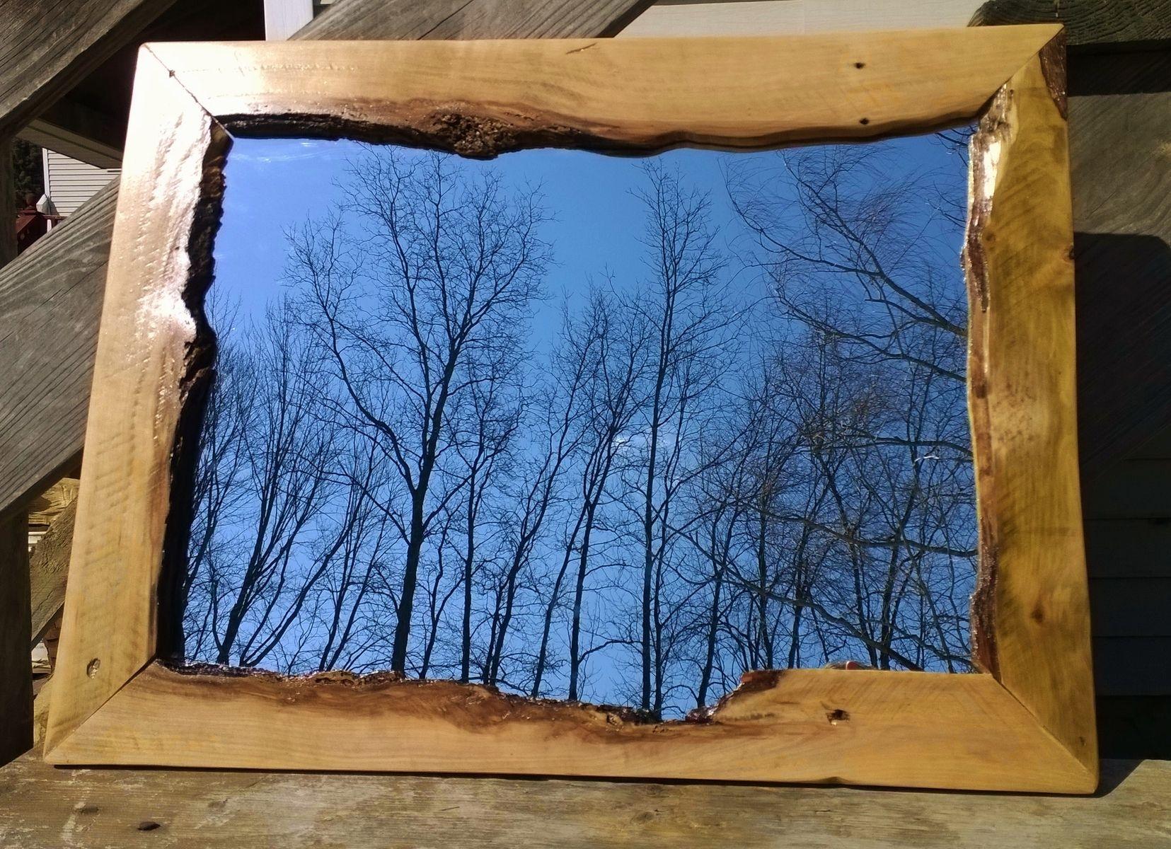 Custom live edge recycled pallet hardwood hanging wall mirror by custom made live edge recycled pallet hardwood hanging wall mirror amipublicfo Choice Image