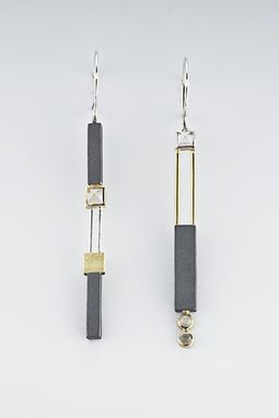 Custom Made Sterling Silver Asymmetrical Earrings With Oxidized Sterling Silver And Gold