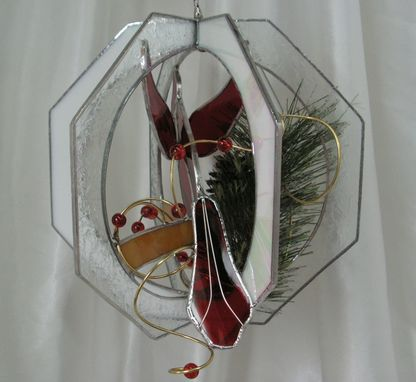 Custom Made Stained Glass Cardinal Suncatcher Whirl