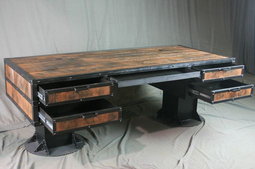 Buy A Hand Made Vintage Industrial Wooden Desk With