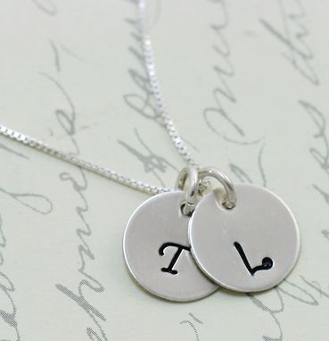 Custom Made Monogram Necklace - Mom Necklace -  Initial Necklace - Engraved Inial Necklace - 7/16 Inch