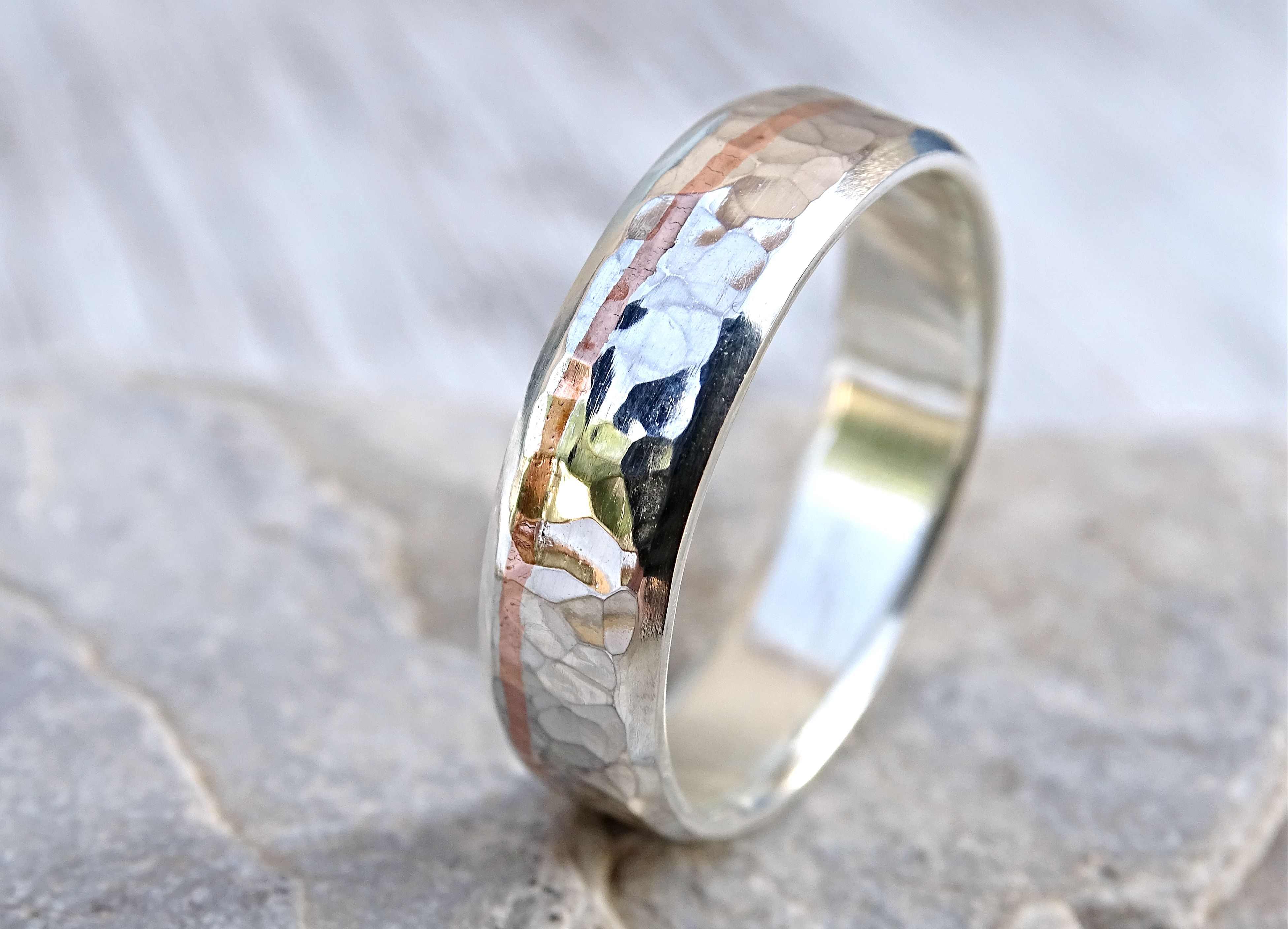 Custom Made Hammered Silver Wedding Band With Copper Inlay Unique Ring For Men Hand
