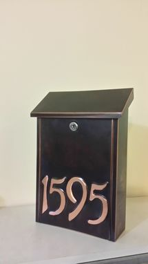 Custom Made Patina Copper Mailbox With House Numbers