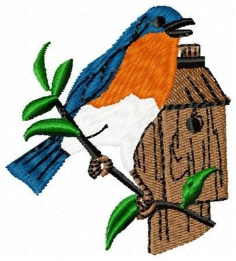 Custom Made Blue Bird Embroidery Design