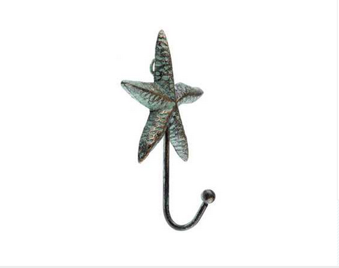 Custom Made Patina Cast Iron Starfish Hook