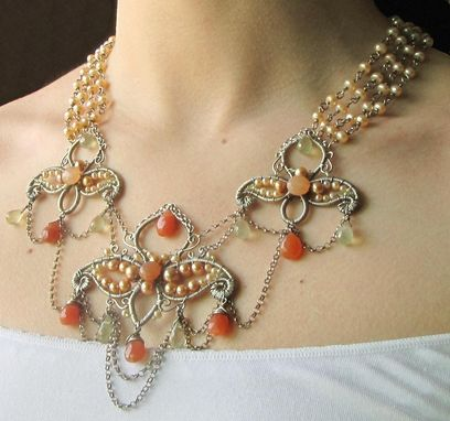 Custom Made Statement Necklace, Sterling Silver And Gemstones, Indian Inspired, Bridal
