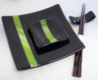 Custom Made Ebony Bamboo Fused Glass Sushi Set Place Setting