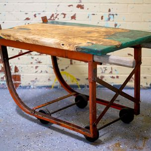 Design Vintage Orange Barrel Dolly With Live Edge Ambrosia Maple And Resin Top By