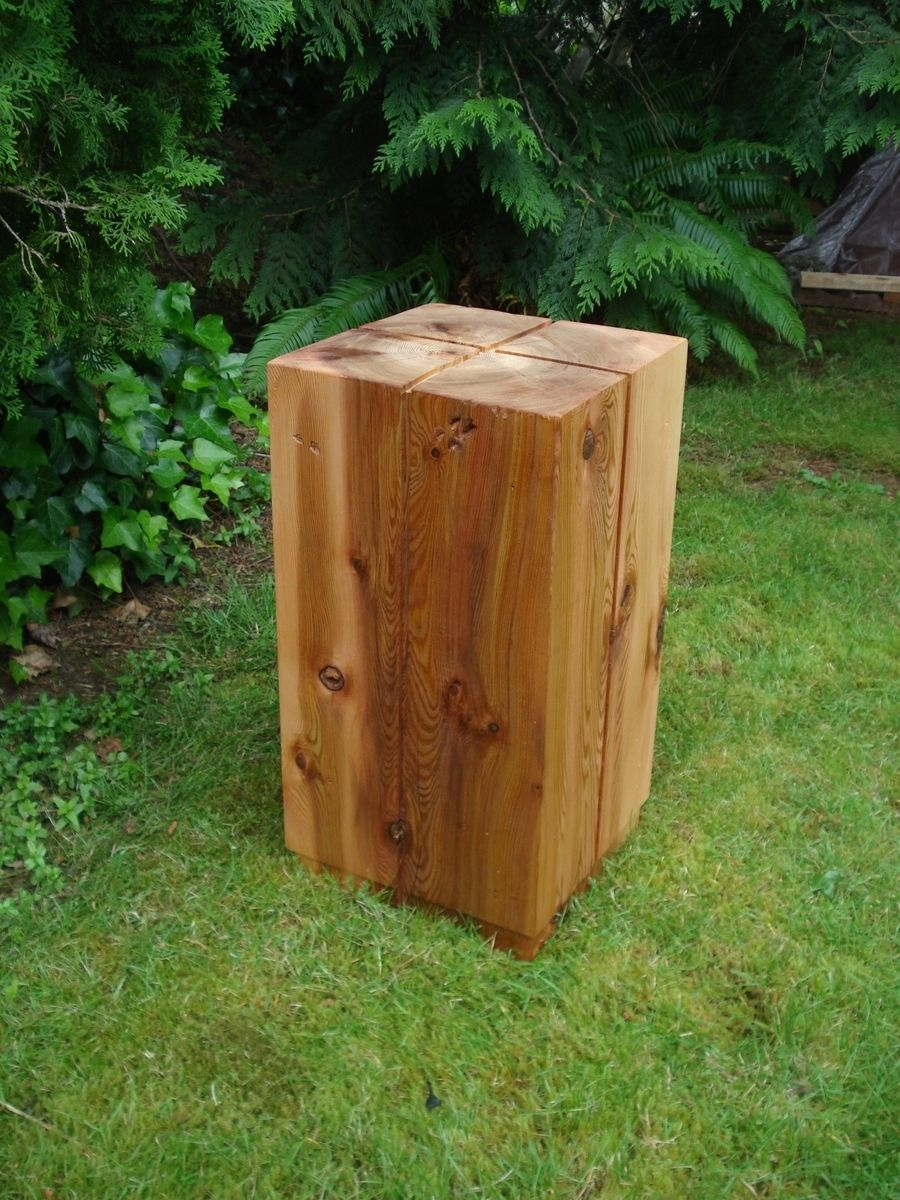 Custom Made Solid Cedar Block Side Table
