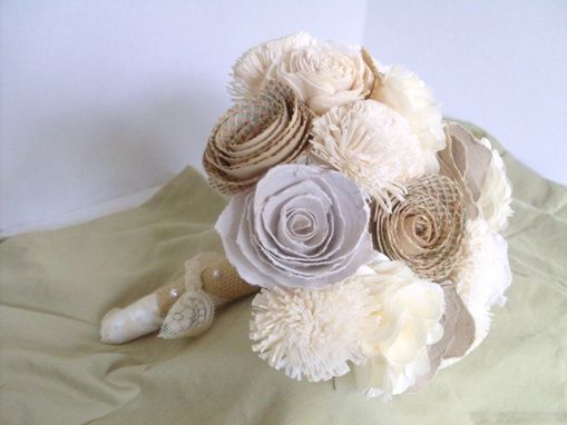 Custom Made Rustic Shabby Chic Paper Flower Bouquet