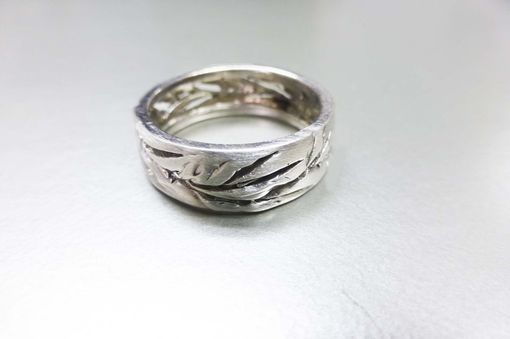 Custom Made Men's And Women's Wedding Band. Cutout Leaf Ring. 14k White Gold.