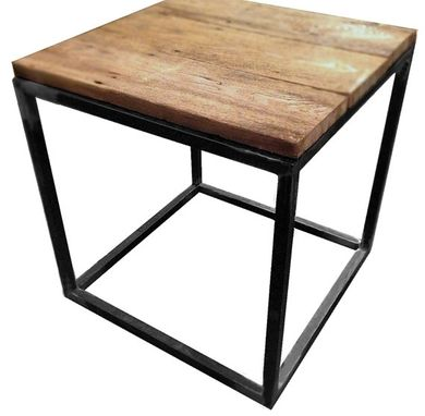 Custom Made Reclaimed Wood And Steel Side Table