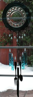Custom Made Iridescent Blue Kings Crown Wind Chime