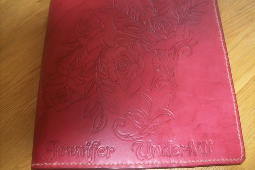 Custom Made Custom Leather Portfolio With 3 Rose Design And Personalization