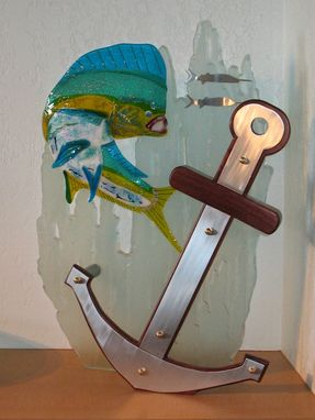 Custom Made Sculpture: Glass Dolphin On Carved Glass Stand