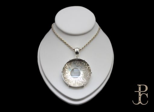 Custom Made Silver Engraved Iris Pendant