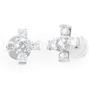 Custom Made Diamond Stud Earrings In 14k White Gold, Ladies Earrings, Diamond Earrings