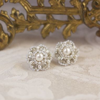 Custom Made Diamanta Earrings | Silver Lace Posts With Ivory Freshwater Pearls, Crystals
