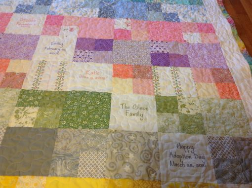 Custom Made Custom Embroidered Family Tree Gradient Color Memory Quilt With Birthstones, Names And Dates