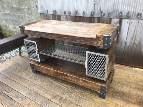 Custom Made Rustic Industrial Wine Bar/Buffet Table