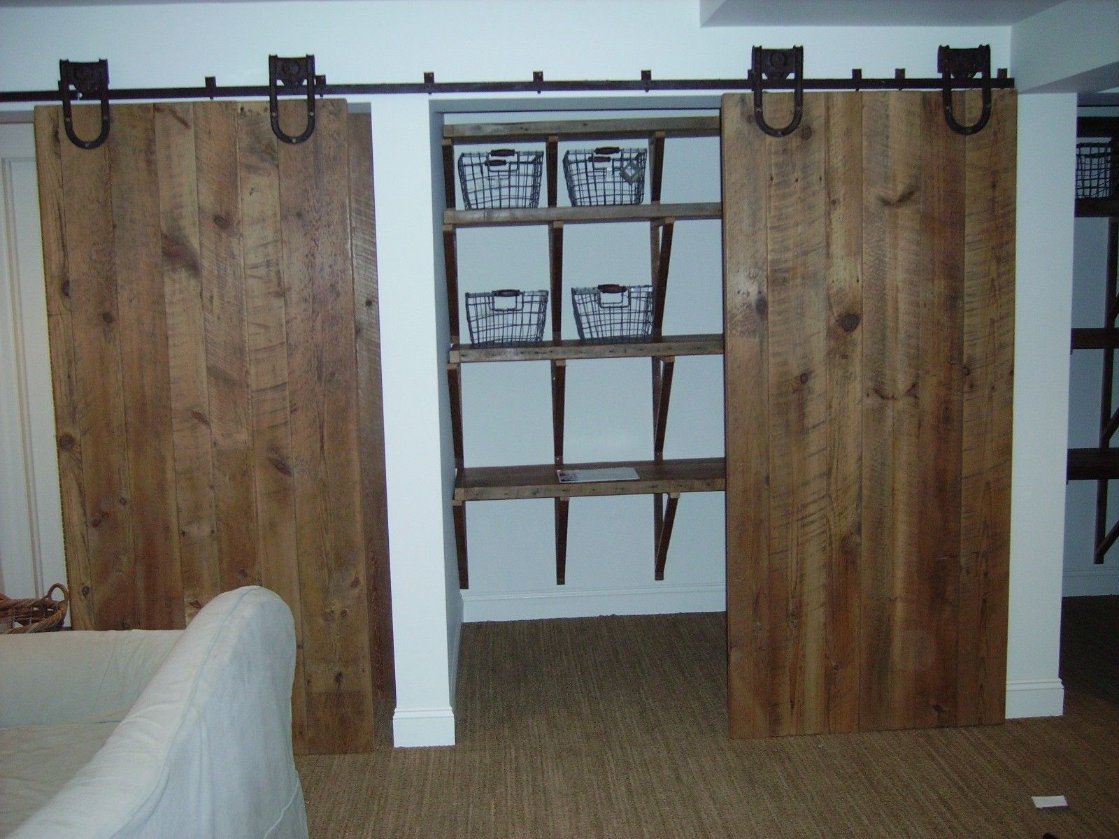 Custom barn door closet by reclaimed wood furnishings for Custom made wood doors