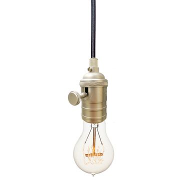 Custom Made Bare Bulb & Cloth Cord Pendant Light- Nickel