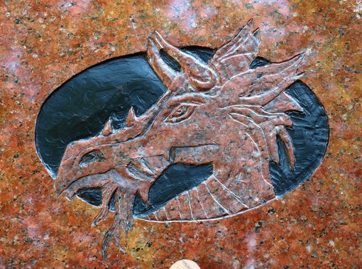 Custom Made Carved Stone, Dragon On Granite