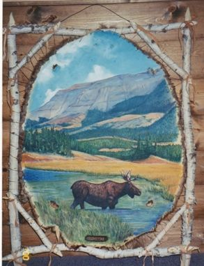 Custom Made Beaver Hide Painting