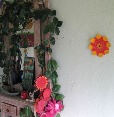 Custom Made Handmade Upcycled Metal Flower Wall Art Sculpture