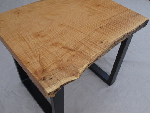 Custom Made Live Edge Maple End Table & Steel Base